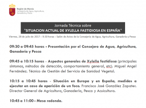Programa Jornada XYLELLA FASTIDIOSA